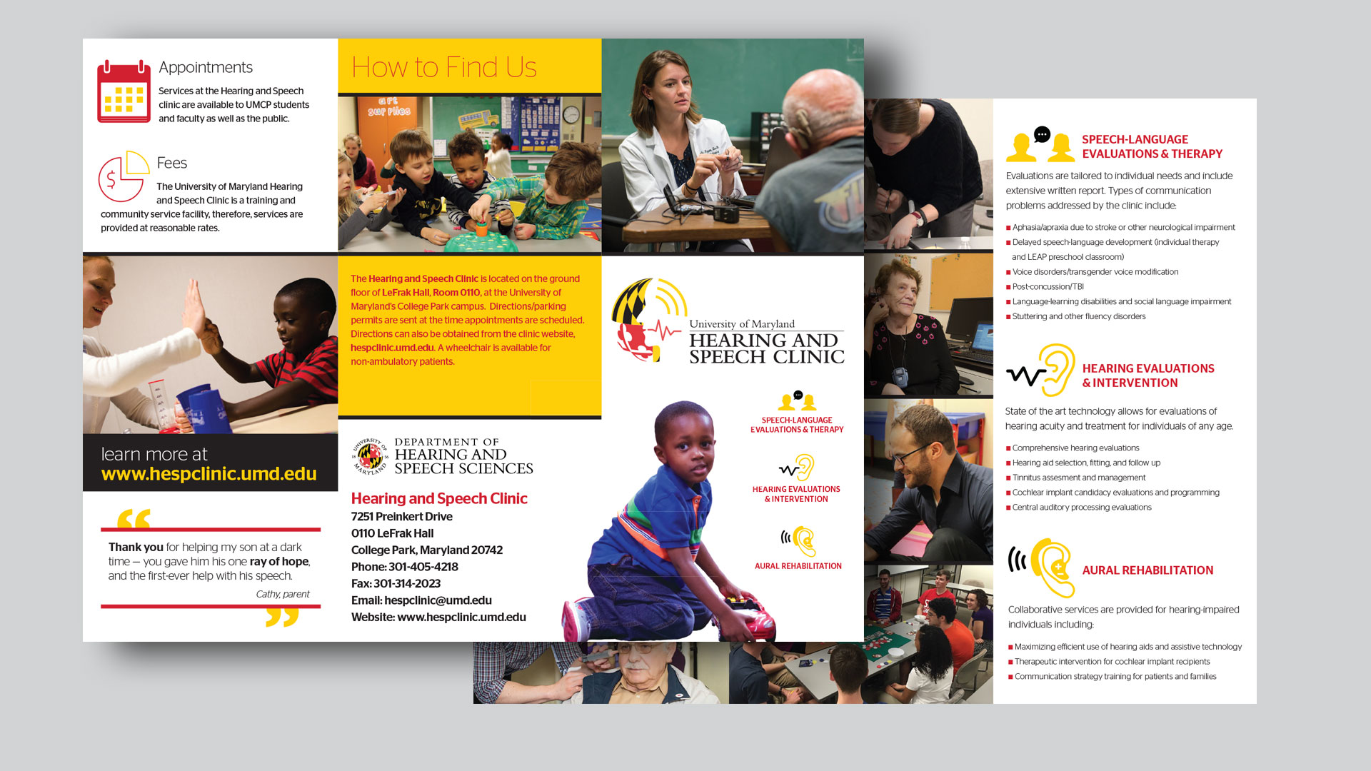 Hearing and Speech Clinic (UMD) Trifold Brochure