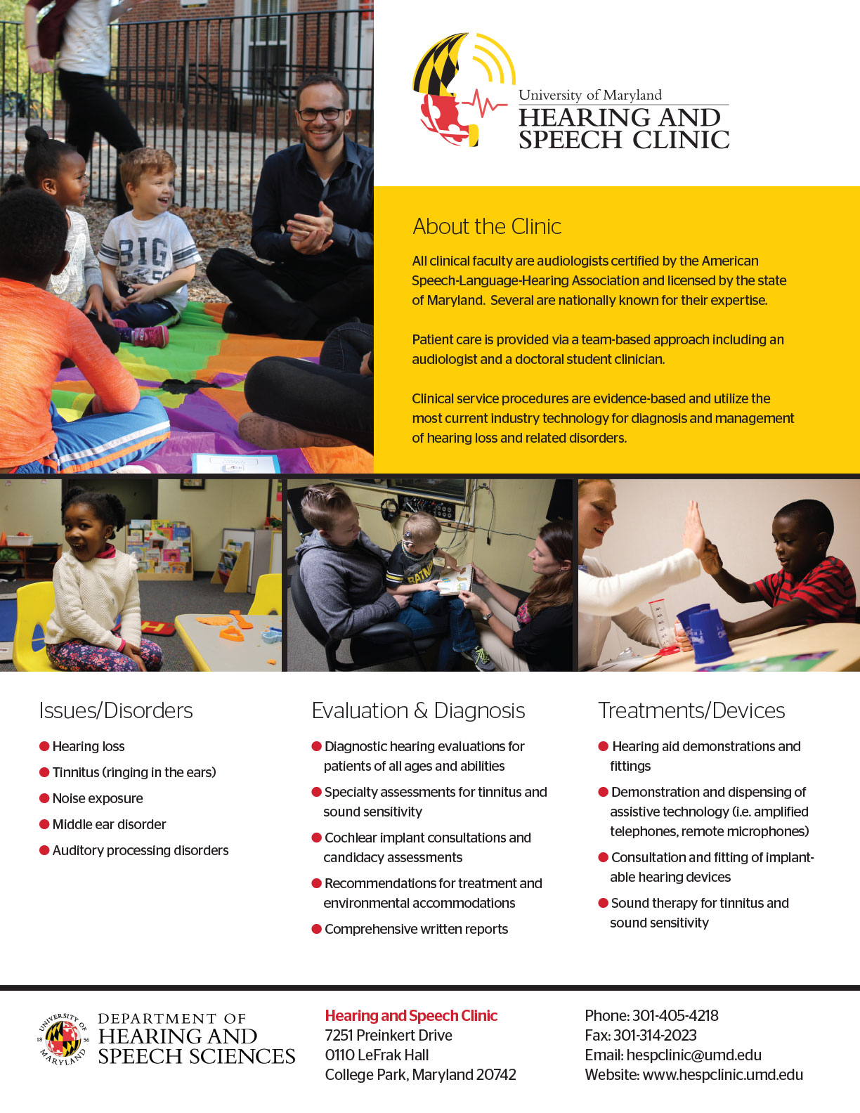 Hearing and Speech Clinic (UMD) Flyer